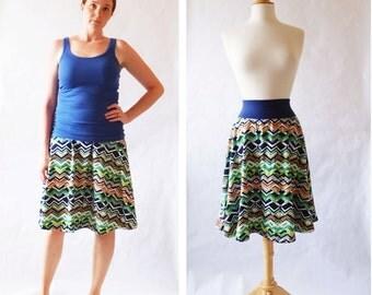 Size SMALL Women's Skirt Zig Zag print Market Skirt Full Aline Skirt stretch Cotton Swing Skirt knee length twirl skirt Ready to ship