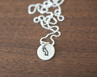Tiny New Jersey Necklace Silver New Jersey Necklace State Charm State Necklace NJ Small State Charm New Jersey Charm New Jersey Necklace