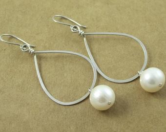 Fresh Water Pearl Hoop Earrings