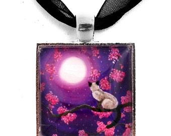 Siamese Balinese Cat Necklace Pink Sakura Zen Purple Moon Handmade Jewelry Art