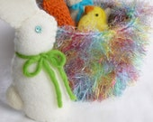Easter basket set Waldorf inspired bunny, chick, carrot,lamb ready to ship