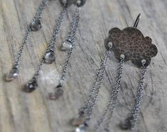 rain cloud kinetic earrings - salmonite and sterling silver