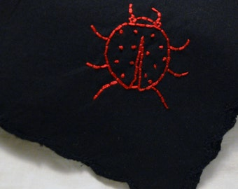 Hand Embroidered Ladybug Women's Handkerchief - Unusual Black Scalloped Edge Hankie Red Ladybird