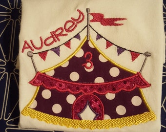 Personalized Circus Tent Tee, Carnival tee shirt, personalized applique shirt, Carnival Birthday, Circus Birthday, Embroidery Circus tshirt