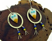 Silly Bird Earrings, yellow and white birds enameled by Kathryn Riechert