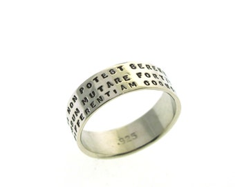 Posey Ring,  personalized ring, hand stamped sterling silver ring with 3 lines of tiny lettering, Personalized Jewelry