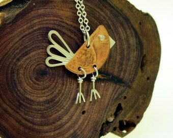 Penny Bird Necklace, sterling silver and copper penny by Kathryn Riechert