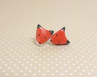 Red Fox Clay Stud Earrings