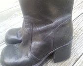 Vintage 90s Black Leather Grunge Ankle Chunky Platform Boots Booties Size 8 M