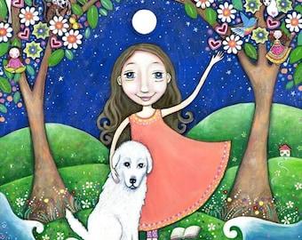 Girls wall art maremma sheep dog folk painting tree story book reader nursery decor whimsical kids room picture - 'The Storyteller'