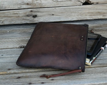 Large Leather Portfolio / Handmade Leather Pouch / Mens Zipper Bag / Leather Clutch / Large Zipper Clutch / Feral Empire / Ready to Ship