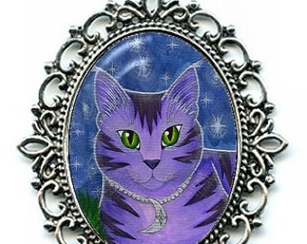 Moon Cat Necklace Astra Purple Cat Celestial Cat Stars Cameo Pendant 40x30mm Gift for Cat Lovers Jewelry