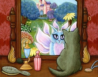 Cat Painting Fairy Cat Art Victorian Chimera Vanity Mirror Fantasy Cats Gray Cat Fae Fantasy Cat Art Print 8x10 Cat Lovers Art