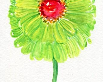 Zinnia watercolors paintings original, flower painting. small floral wall art, original watercolor painting of green zinnias 5 x 7 flower