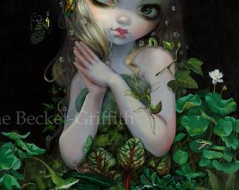 "Green Goddess fairy art print by Jasmine Becket-Griffith 7.25""x10.75"" mother nature earth goddess flora fauna plants animals greenery vines"