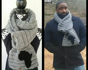 Men's Scarf, African Scarf, Texture, Afro-Centric, Bohemian Men, Man's Man, Chunky Scarf, Ribbed Scarf, Gift for him, African Clothing