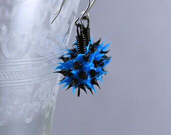Eco-Chic Eco-Friendly Earrings Featuring Blue with Black Recycled Tire Rubber Beads