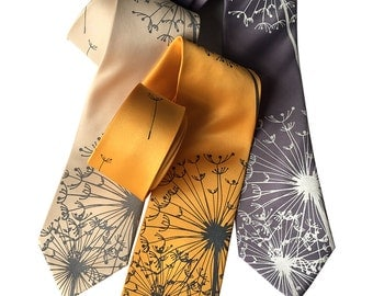 Dandelion Print Necktie. Dandelion Wish, Dandelion Seed Tie. Silkscreened floral print men's tie. Standard or narrow width.