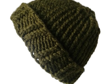 Moss Green Chunky Knit Hat Olive Avocado Army Slouch Toque Ski Hat Men Women Gift Unisex AIDAN - Ready to Ship Autumn Winter Accessories