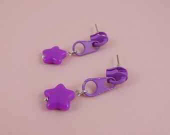 Purple Zip Earrings, Purple Star Earrings - purple star studs, upcycled studs, Harajuku Decora, recycled repurposed, kitsch kawaii cute fun!