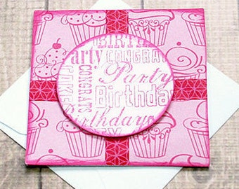 "Pink Cupcakes Birthday Mini-Card 2, Gift Tag, Party,  Congrats - 3"" by 3"""