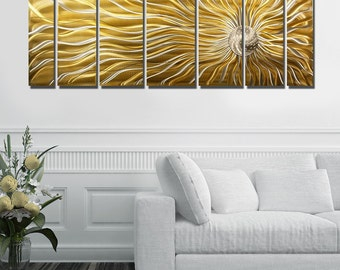 Gold Multi Panel Metal Wall Art, Large Indoor Outdoor Painting, Decorative Wall Sculpture for a Modern Decor - Sunflower Burst by Jon Allen
