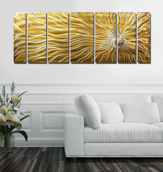 gold multi panel metal wall art large indoor outdoor painting