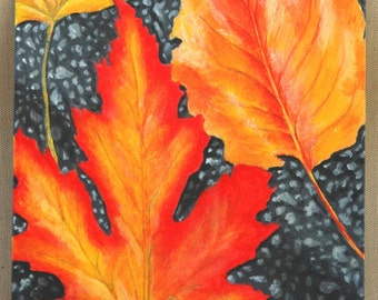 "Autumn Leaves on Asphalt Original Acrylic Painting 8"" x 10"""