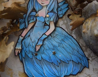 Jointed Articulated Paper Dolls - Folk Art - Paper Goods - Hand-painted - Handmade - The Blue Bird paper Doll