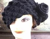 Crochet Beret Hat, Crochet Hat Womens Hat, Crochet Shell Stitch Crochet Flower Hat Womens Wool Beret Hat, Black Hat, KAREN Crochet Beret Hat