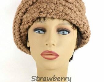 Art Deco Hat, Womens Crochet Hat, Womens Hat, Crochet Beanie Hat, Toasted Almond Hat, Acorn Hat, Beanie Women