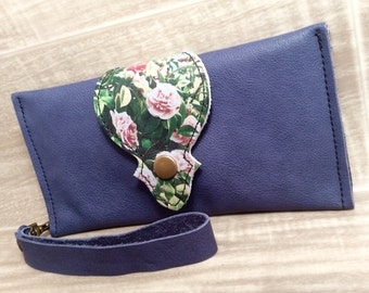 Leather Long Wallet, Phone Case Wrist Strap & Zipper Pocket Purple / Camellia * SALE * Coupon Codes