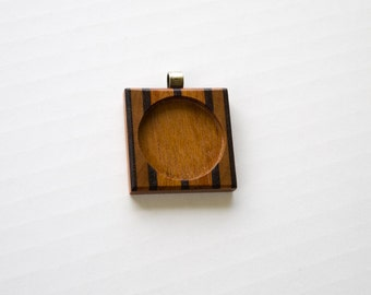 Pendant blank mouning hardwood marquetry finished - 30 mm cavity diam. - Brass Tube Bail - (F353-X)