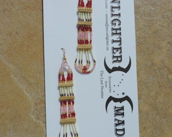 Porcupine Quill Earrings in Red and Pink