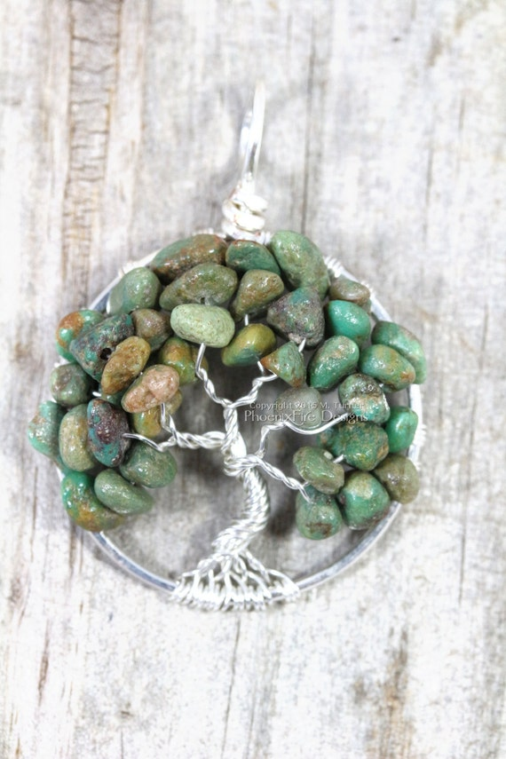 Turquoise Tree of Life Pendant by Phoenix Fire Designs