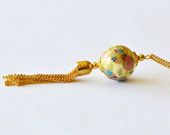 Colorful Pinwheel Ivory Japanese Tensha Bead Gold Tassel Long Necklace, Gold Beaded Tassel Necklace
