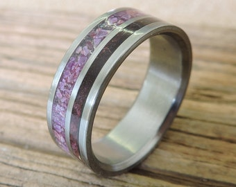 Titanium Ring, Wedding Ring, Wood Ring, Purple Ring, Wood Inlay Ring, Sugilite Ring, Mens Ring, Womens Ring, Wood and Stone Ring, Engraved