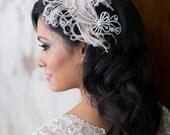 Art Deco Rhinestone Feather Bridal Fascinator