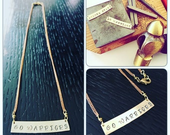 Golden State Pendant Necklace - Go Warriors Brass Pendant Bar Pendant Statement Necklace -  Stamped Personalized Jewelry