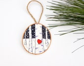 Our First Christmas Ornament -Birch Bark Ornament -Newlywed Ornament -Personalized Ornament -Canvas Christmas Ornament -Love Birch Painting
