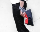 Denim clutch purse red leather cotton knit bag wristlet white blue knit handle nautical style memake handmade fashion accessory