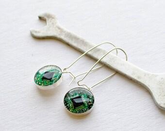 Green Recycled Circuit Board Earrings - Sterling Silver Dangle Earrings - Geeky Earrings - Computer Earrings