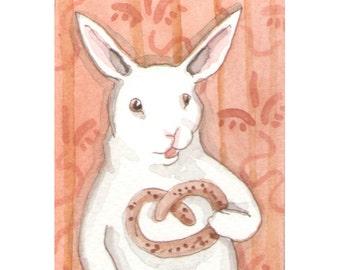 Original Watercolor Rabbit Painting - ACEO - Pretzel