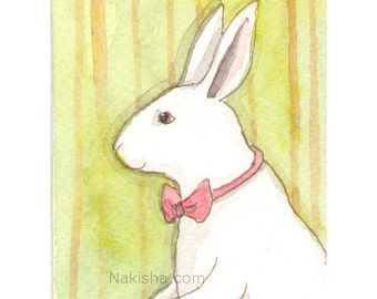 Original Watercolor Rabbit Painting - ACEO - Daper Bun