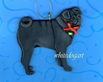 Handpainted Black Pug Christmas Ornament