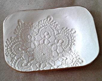 OFF WHITE Cream gold edged  Ceramic Lace Trinket  Dish Soap dish