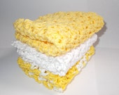 Set of 3 Crochet Dishcloths/Washcloths/Face cloths-Yellow and White stack