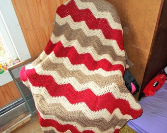 Chevron-Ripple-Hand Crochet Afghan Blanket -READY to ship -Large size/ Modern/Tans and Red