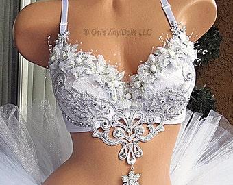 Silver White Winter Wonderland Rave Bra, Ice Princess, Snow Angel, Christmas, Bachelorette Bridal Bra