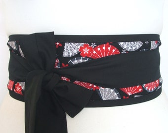 Obi belt 'Japanese geisha fans and cherry blossom' by loobyloucrafts